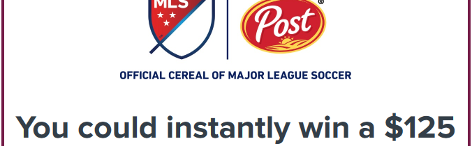 participating post cereal product for Major League Soccer