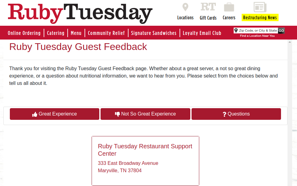 Ruby Tuesday Guest Survey